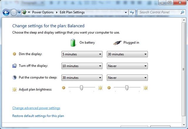 Sprememba moči-napredna,settings