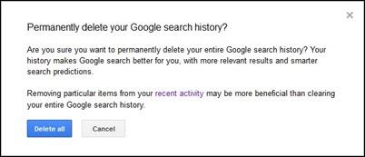 изтриване на Google за търсене на история