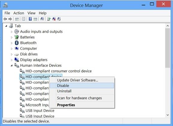 How to disable touch screen computer device that runs windows 8 8