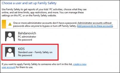 حدد المستخدم مقابل الرقابة الأبوية-
