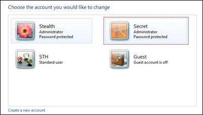 الحساب السري المستخدم