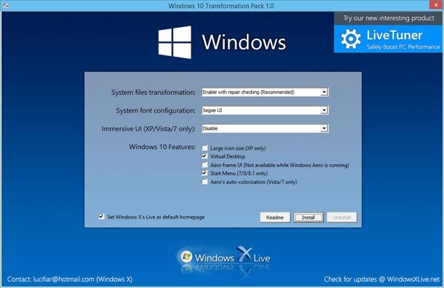 T l chargez windows 10 transformation pack invisibilit - Performances du bureau pour windows aero ...