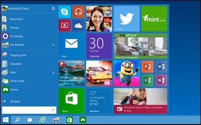 windows10 เริ่มต้นเมนู