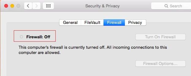 firewall desactivado-osx