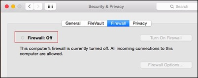 firewall disabled-osx