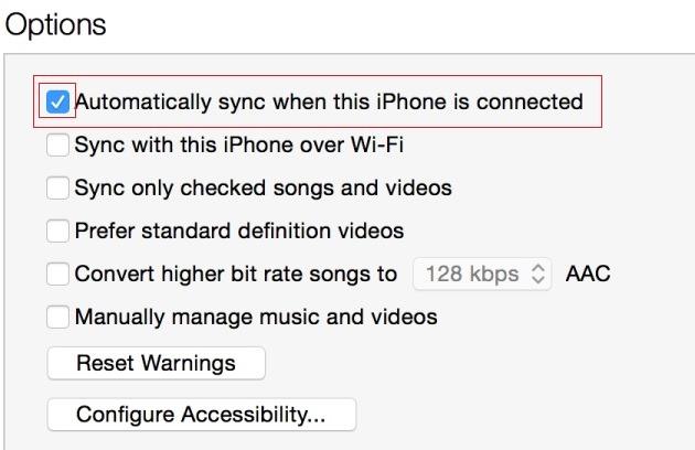 Automatiškai sinchronizuoti, kai taiiPhone-jis prijungtas