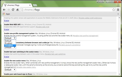 disable-Profil użytkownika przycisk chrom