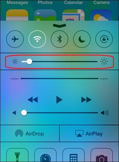 iOS kontrolės centras