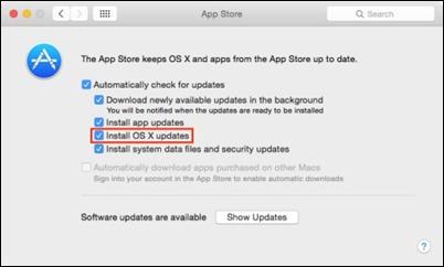 OSX-app-parduotuvė-nustatymai