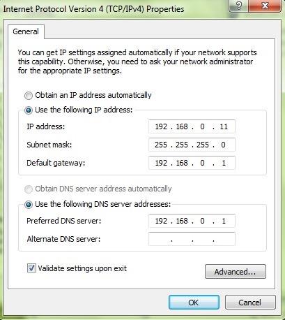 セット静的-IP