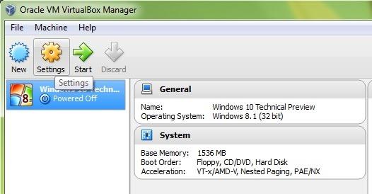 VirtualBox-мениджър