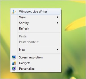 ऐड-शॉर्टकट करने वाली डेस्कटॉप संदर्भ मेनू