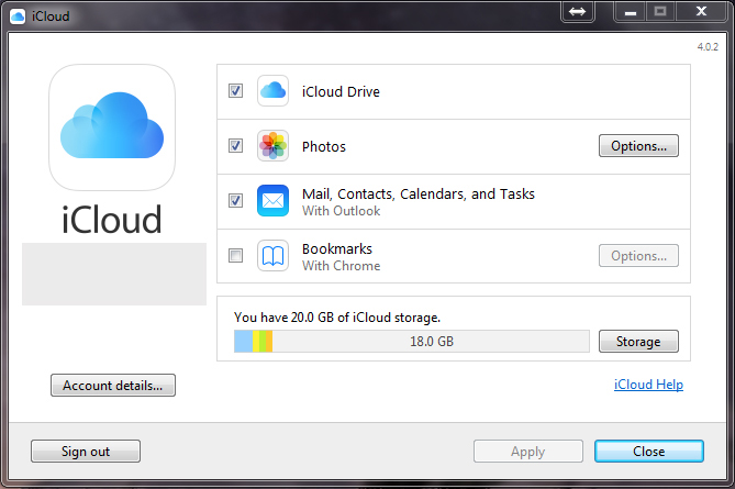 Manager do Windows iCloud App