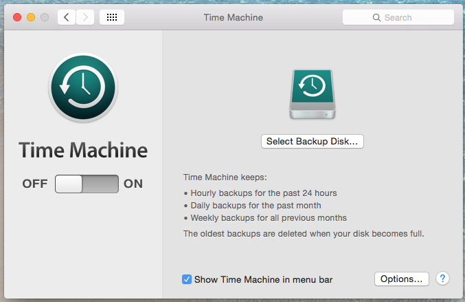 Select Backup Disk Time machine