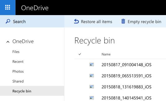 Microsoft Onedrive Papierkorb