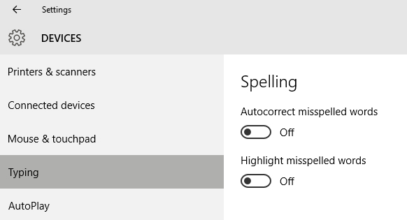 Desactivar de Windows 10-Autocorrección