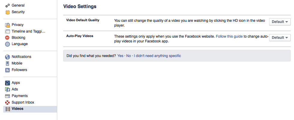 Disable autoplay video on Facebook and modules for video quality settings (HD & SD)