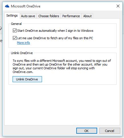 Unlink OneDrive