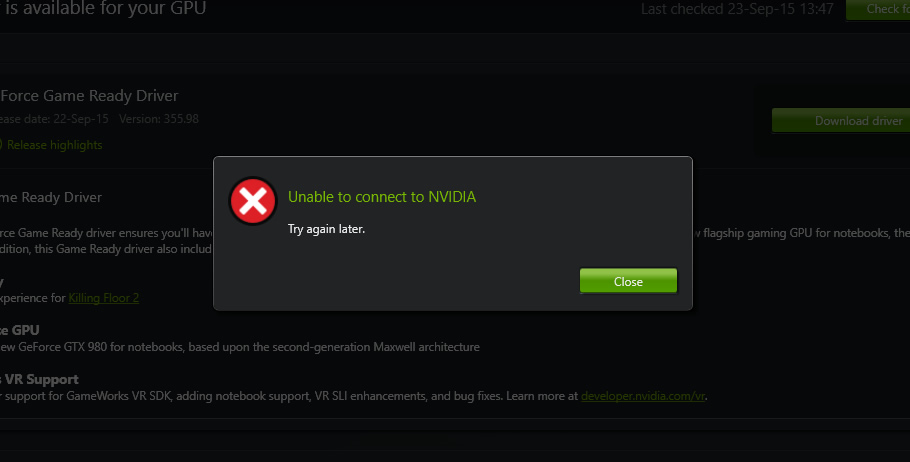 nVidia-Windows Update Error-10