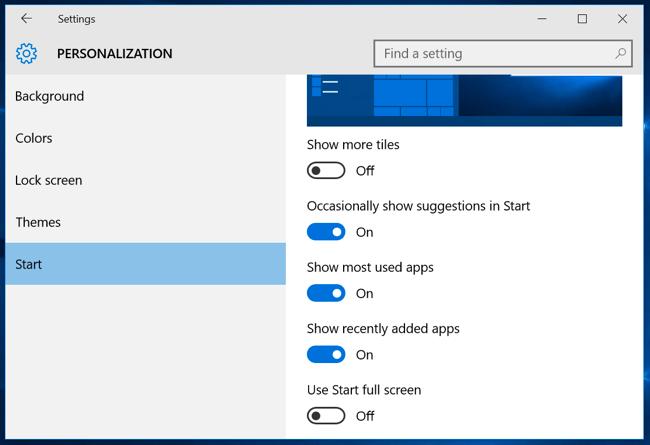शुरू-menu-टॉप-Windows-10
