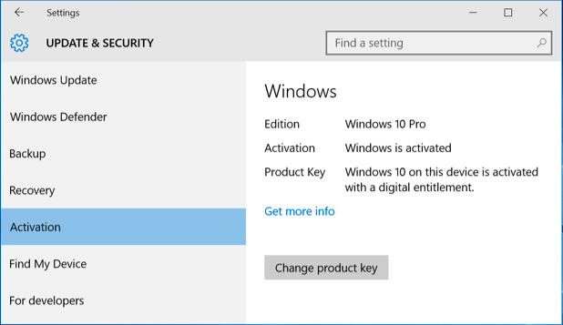 Enable Windows 10 with the Product Key from Windows 7, 8 or Windows