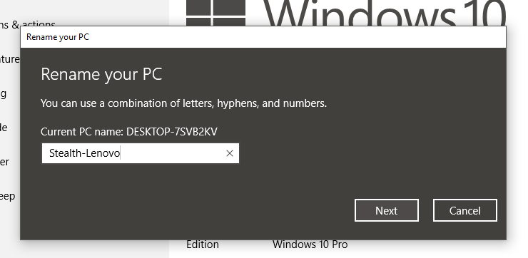 how to change name of pc windows 10