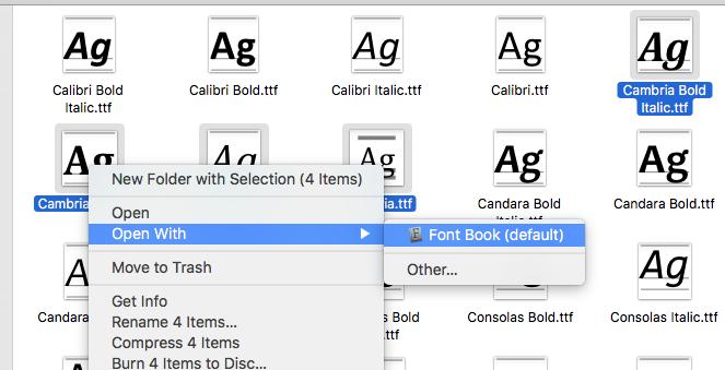 Font Book OS X