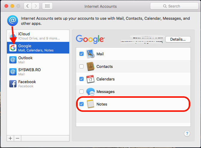 Gmail Sinhronizacija Notes OS X