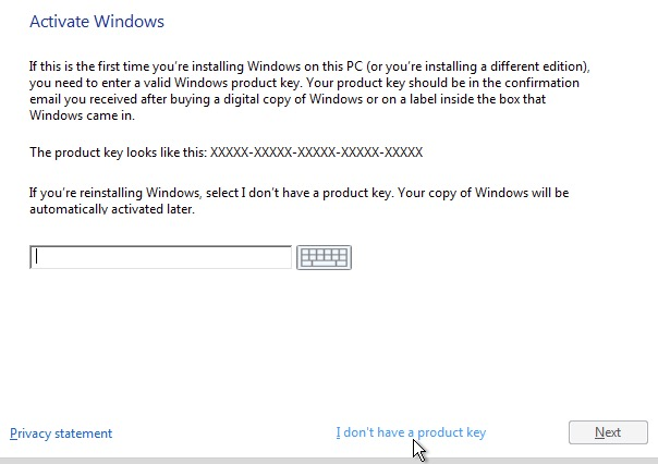 install windows 10 home without product key
