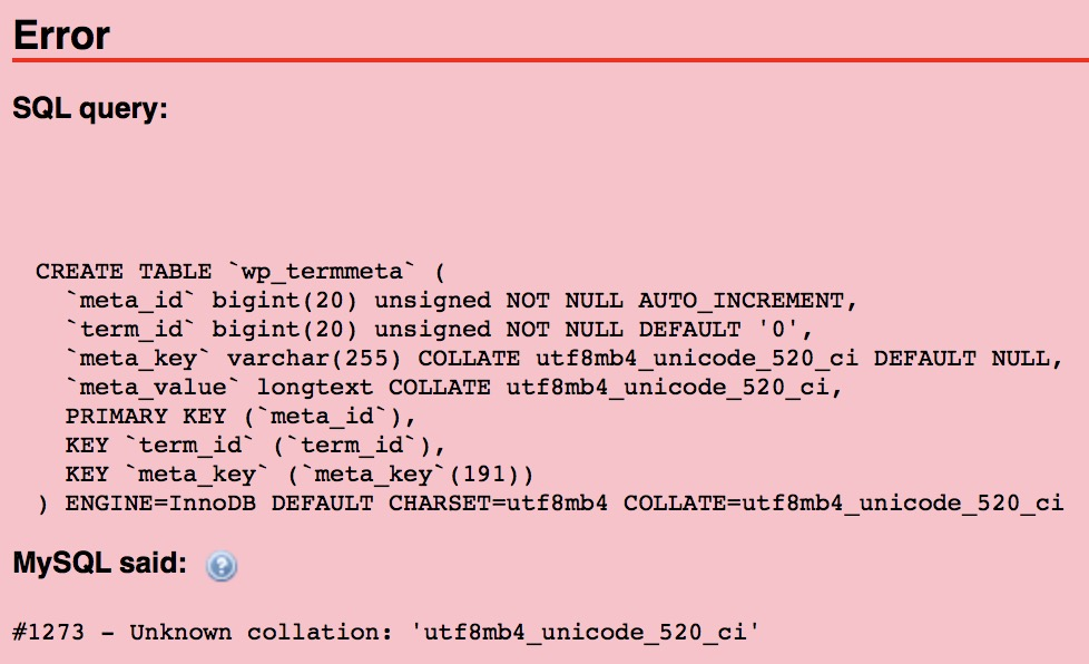 Fix phpMyAdmin Import SQL - Unknown collation
