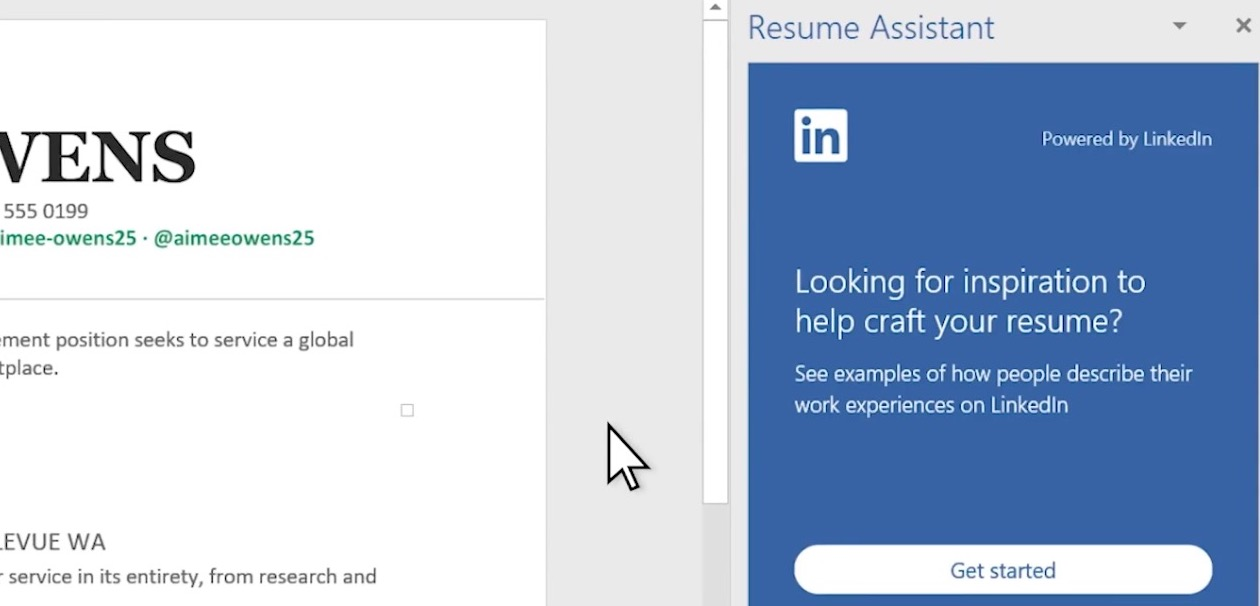 linkedin resume assistantがoffice 365の一部になりました stalal