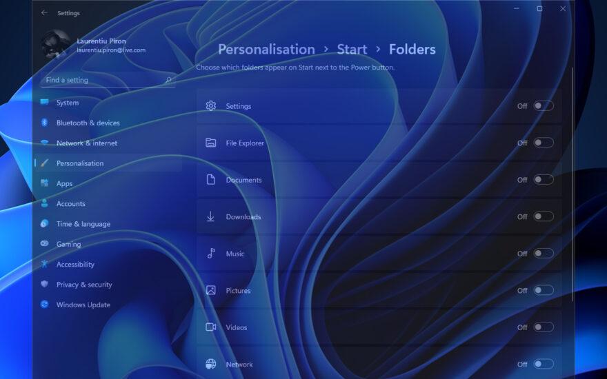 Windows 11 Start personalisering