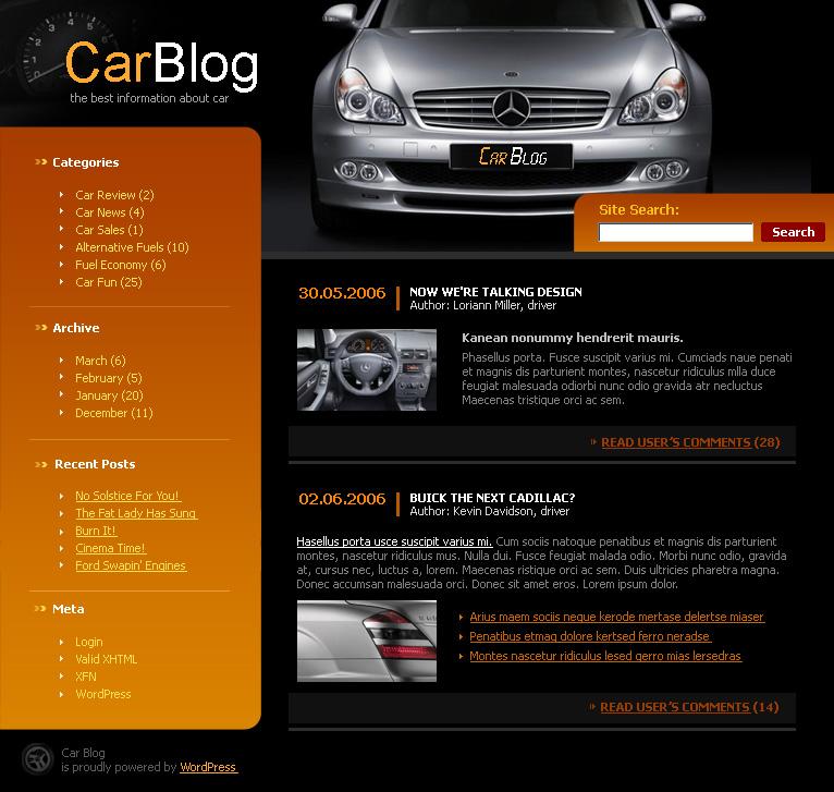Ауто блог - ВордПресс Тхеме Довнлоад